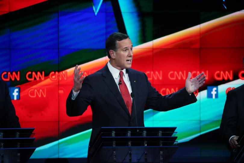 Republican presidential candidate Rick Santorum spoke during the CNN Republican presidential debate on Tuesday in Las Vegas, Nevada. PHOTO: GETTY IMAGES