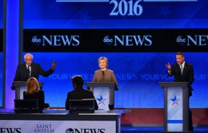 US Democratic Presidential hopefuls (L-R) Bernie Sanders, Hillary Clinton and Martin O'Malley participate in the Democratic Presidential Debate hosted by ABC News at Saint Anselm College in Manchester, New Hampshire, on December 19, 2015. AFP PHOTO / JEWEL SAMAD / AFP / JEWEL SAMAD