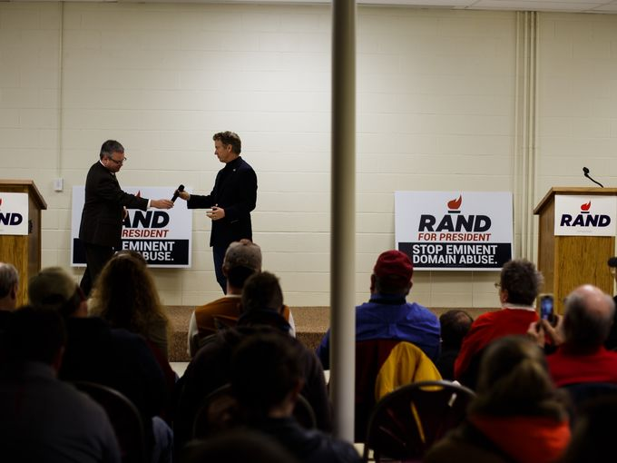 Republican presidential candidate Rand Paul talks during a campaign stop in Boone on Thursday, Jan. 7, 2016, in Des Moines. Brian Powers/The Register