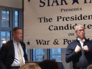 Democratic presidential candidate Martin O'Malley speaks with Des Moines Mayor Frank Cownie at a STAR PAC event Dec. 27. (Photo: Charly Haley/The Register)