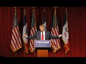 Donald Trump addresses supporters in Clear Lake, Iowa