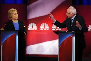 Democratic presidential hopefuls Secretary Hillary Clinton and Sen. Bernie Sanders at NBC News' Democratic Debate, Jan. 17, 2016