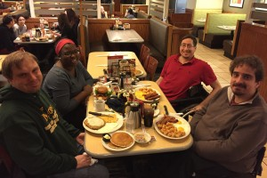 In January, James and his teammates enjoyed dinner at a diner in Des Moines, Iowa.