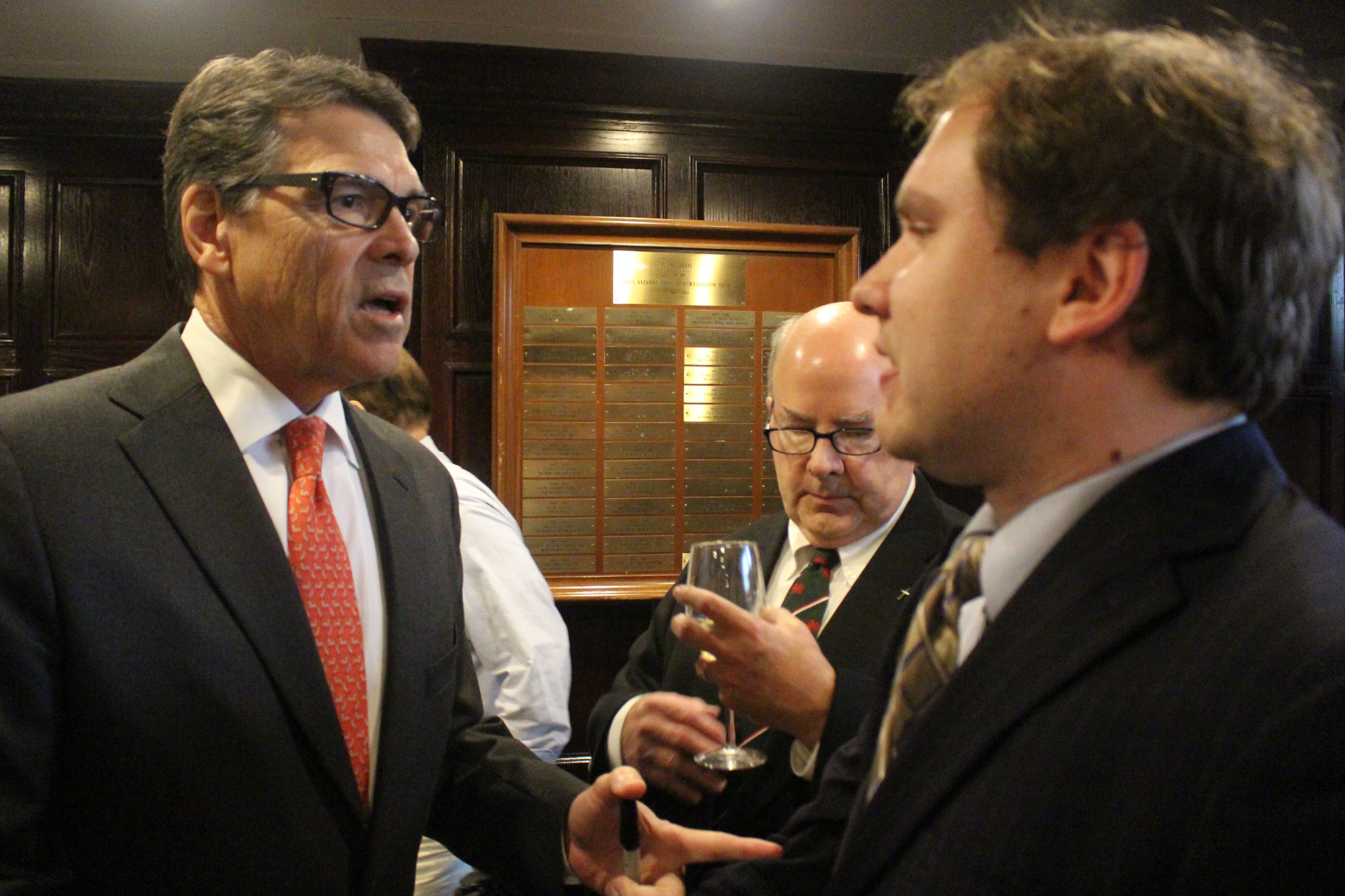 During the summer, James interviewed then-presidential candidate Rick Perry.