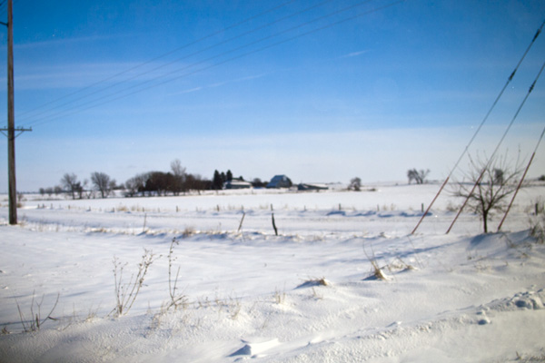 Image of snow-covered fields and roads in Iowa