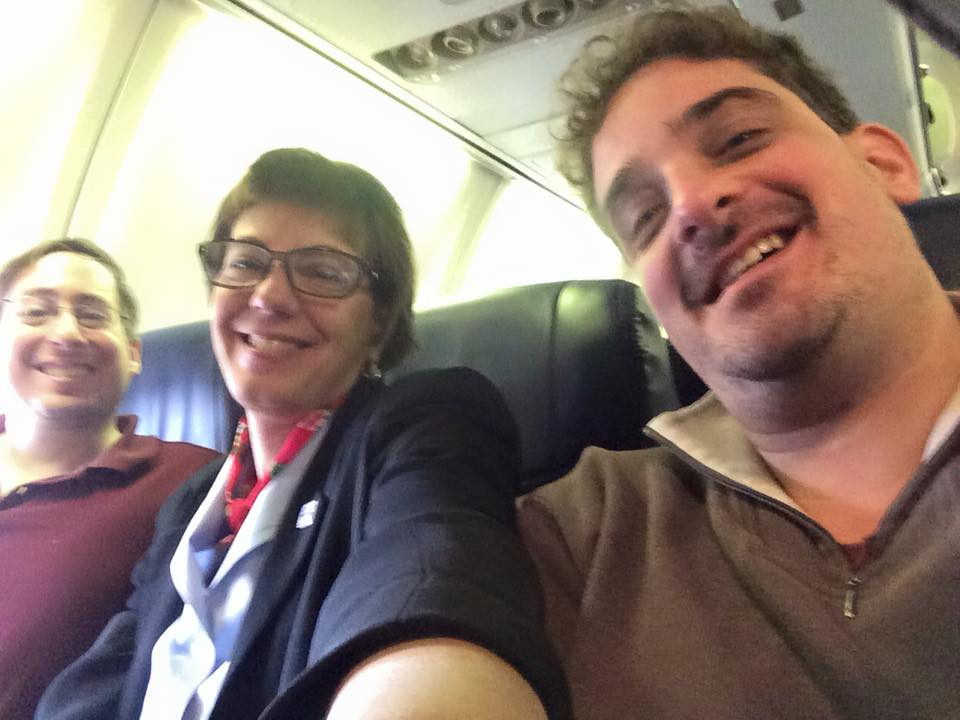 RespectAbility's Justin Chappell, Jennifer Laszlo Mizrahi and Ben Spangenberg on the plane to New Hampshire