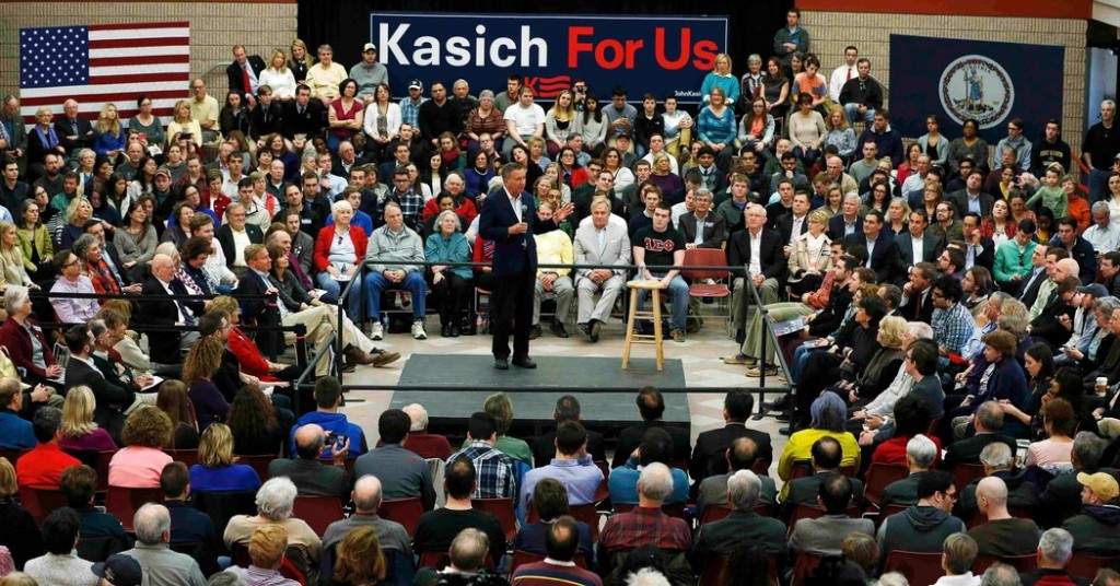 Republican presidential candidate, Ohio Gov. John Kasich speaks during a Town Hall at George Mason University in Fairfax, Va., Monday, Feb. 22, 2016.