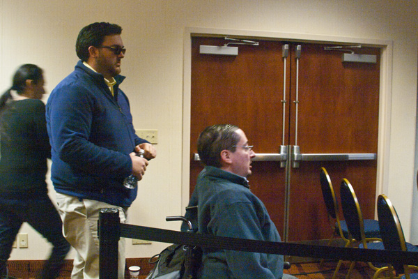 Image of RespectAbility's Ryan Nobile and Justin Chappell at a candidate event in ADA seating