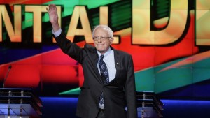 Bernie Sanders at the CNN Democratic Debate in Flint, Michigan