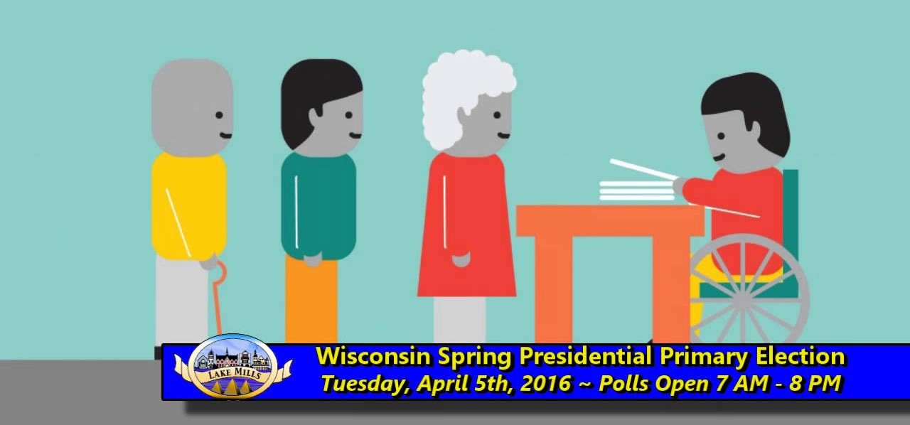 Screenshot from Wisconsin Spring Presidential Primary Election PSA showing three people in line waiting to speak to voting official, who is in a wheelchair