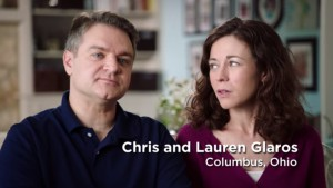 Screenshot of ad of Chris and Lauren Glaros