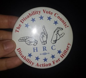Text: The Disability Vote Counts! Disability Action for Hillary, with HRC shown in sign language