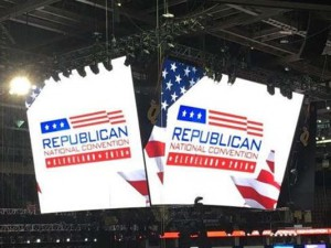 Interior signs in RNC showing large screens with RNC logo