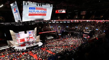 Interior shot of the RNC showing the stage and arena full of people for the speeches