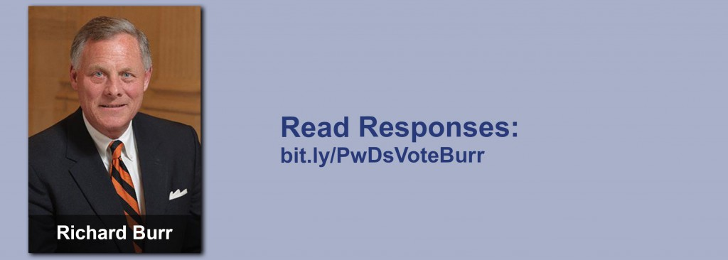 Click on the image to view all of Richard Burr's answers to the questionnaire.
