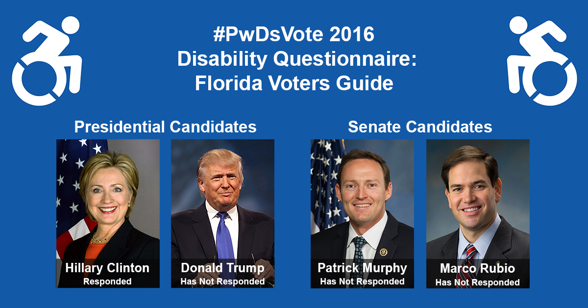 "Text in Image: #PwDsVote 2016 Disability Questionnaire: Florida Voter Guide. Presidential Candidates: headshot of Clinton with text ""Hillary Clinton, Responded""; headshot of Trump with text ""Donald Trump, Has Not Responded."" Senate Candidates: headshot of Murphy with text ""Patrick Murphy, Has Not Responded""; headshot of Rubio with text ""Marco Rubio, Has Not Responded."""
