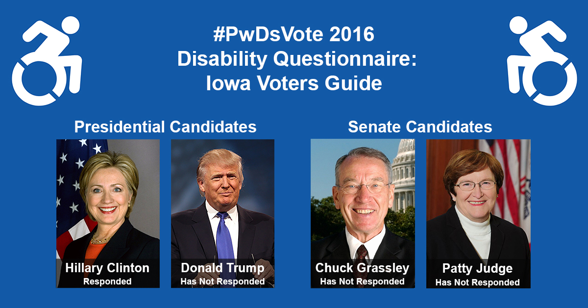 "Text in Image: #PwDsVote 2016 Disability Questionnaire: Iowa Voter Guide. Presidential Candidates: headshot of Clinton with text ""Hillary Clinton, Responded""; headshot of Trump with text ""Donald Trump, Has Not Responded."" Senate Candidates: headshot of Grassley with text ""Chuck Grassley, Has Not Responded""; headshot of Judge with text ""Patty Judge, Has Not Responded."""