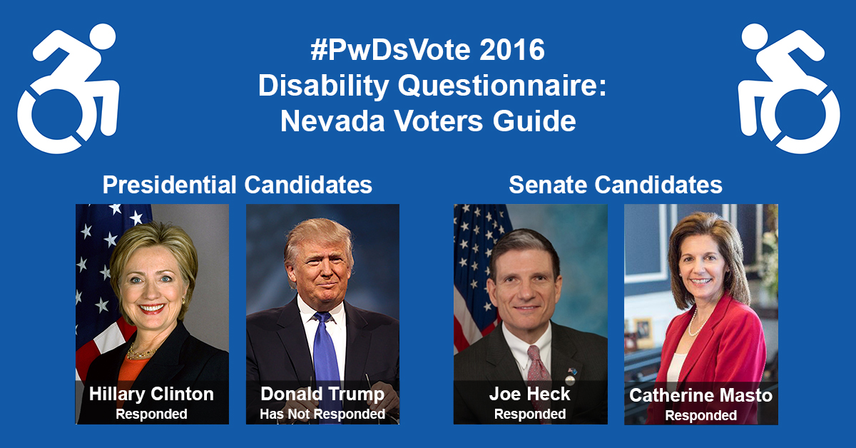 """Text in Image: #PwDsVote 2016 Disability Questionnaire: Nevada Voter Guide. Presidential Candidates: headshot of Clinton with text """"Hillary Clinton, Responded""""; headshot of Trump with text """"Donald Trump, Has Not Responded"""" Senate Candidates: headshot of Heck with text """"Joe Heck, Responded""""; headshot of Masto with text """"Catherine Masto, Responded."""""""