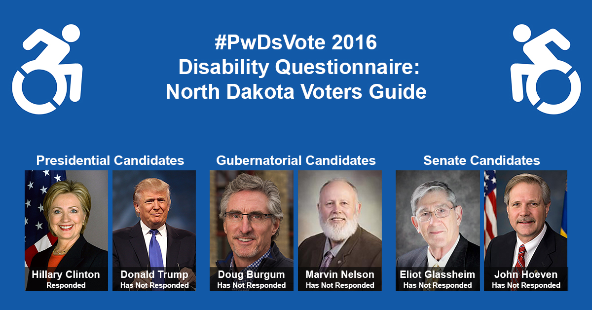 """Text in Image: #PwDsVote 2016 Disability Questionnaire: North Dakota Voter Guide. Presidential Candidates: headshot of Clinton with text """"Hillary Clinton, Responded""""; headshot of Trump with text """"Donald Trump, Has Not Responded."""" Gubernatorial Candidates: headshot of Burgum with text """"Doug Burgum, Has Not Responded""""; headshot of Nelson with text """"Marvin Nelson, Has Not Responded."""" Senate Candidates: headshot of Glassheim with text """"Eliot Glassheim, Has Not Responded""""; headshot of Hoeven with text """"John Hoeven, Has Not Responded."""""""