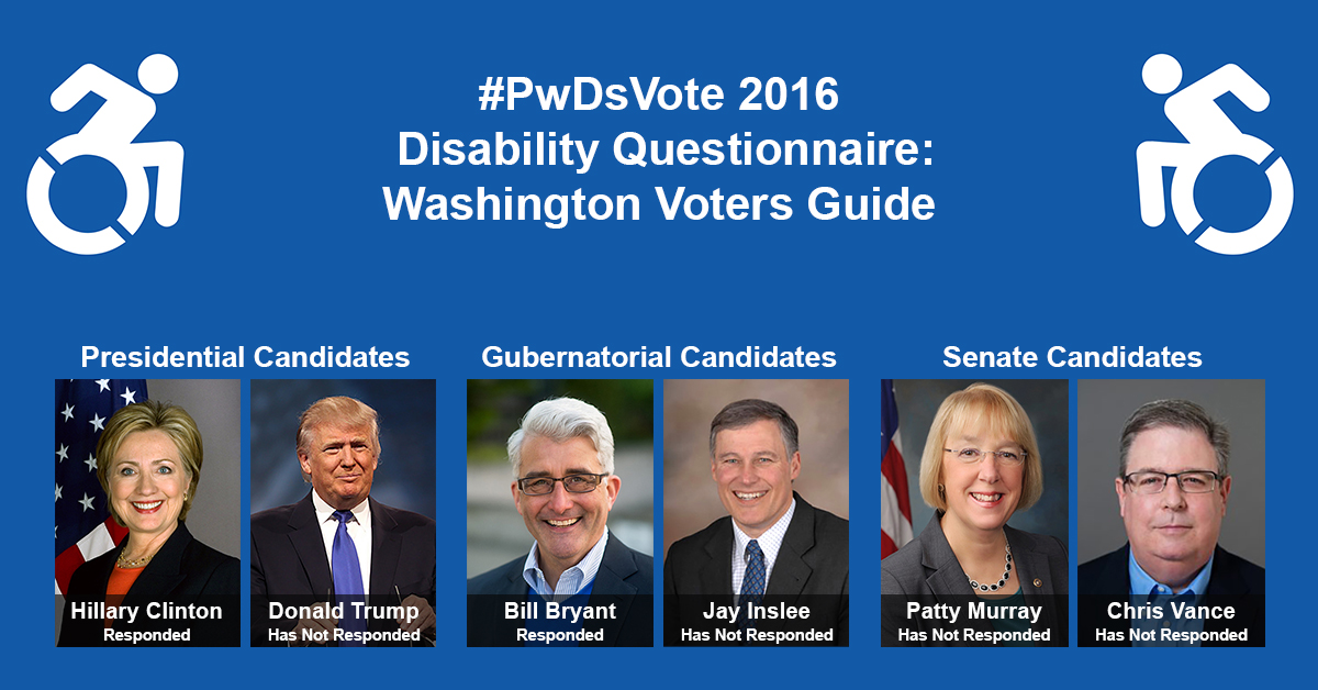 "Text in Image: #PwDsVote 2016 Disability Questionnaire: Washington Voter Guide. Presidential Candidates: headshot of Clinton with text ""Hillary Clinton, Responded""; headshot of Trump with text ""Donald Trump, Has Not Responded."" Gubernatorial Candidates: headshot of Bryant with text ""Bill Bryant, Responded""; headshot of Inslee with text ""Jay Inslee, Has Not Responded."" Senate Candidates: headshot of Murray with text ""Patty Murray, Has Not Responded""; headshot of Vance with text ""Chris Vance, Has Not Responded."""