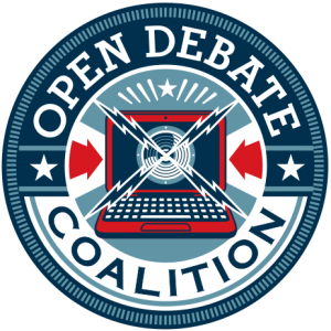 Logo with text: Open Debate Coalition