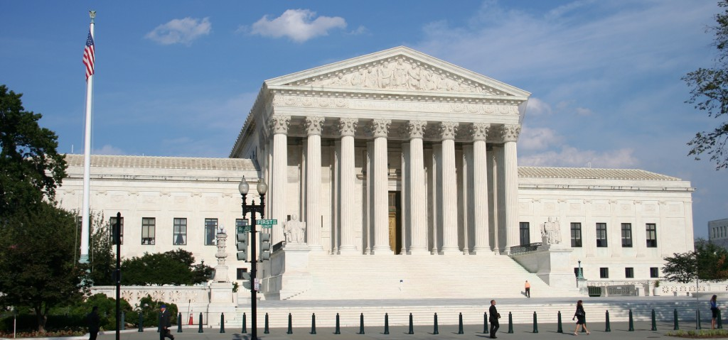 Exterior shot of the Supreme Court building from across the street