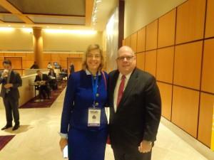 Maryland Governor Larry Hogan and Jennifer Laszlo Mizrahi smiling