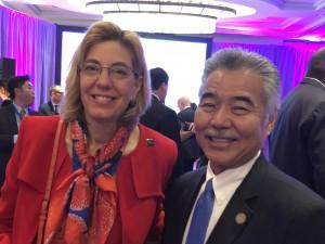 Governor Ige of Hawaii and Jennifer Mizrahi