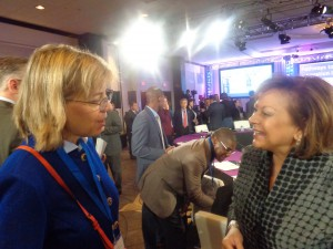 New Mexico Governor Susana Martinez and RespectAbility's Jennifer Mizrahi talking with each other, smiling