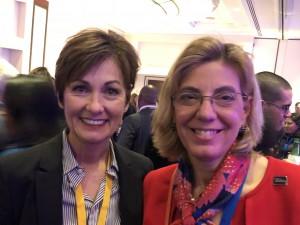 Iowa Governor Kim Reynolds and RespectAbility's Jennifer Mizrahi smiling