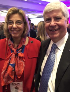 Michigan Governor Rick Snyder with Jennifer Mizrahi