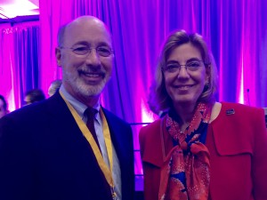 Governor Tom Wolf and RespectAbility's Jennifer Mizrahi  smiling