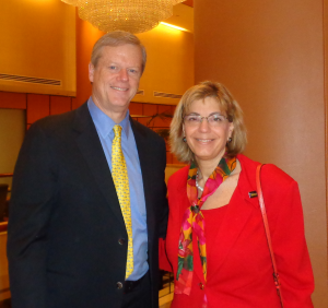 Governor Charlie Baker and RespectAbility president Jennifer Mizrahi