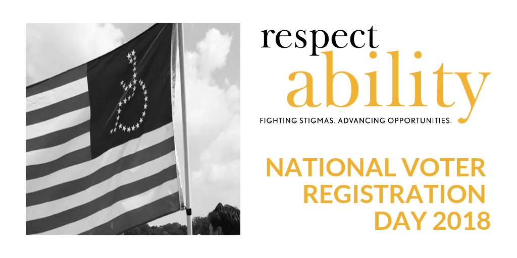 National voter registration day 2018, image of American flag with disability symbol (wheelchair) instead of stars