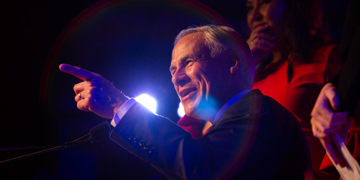 Greg Abbott speaks to supporters after winning re-election
