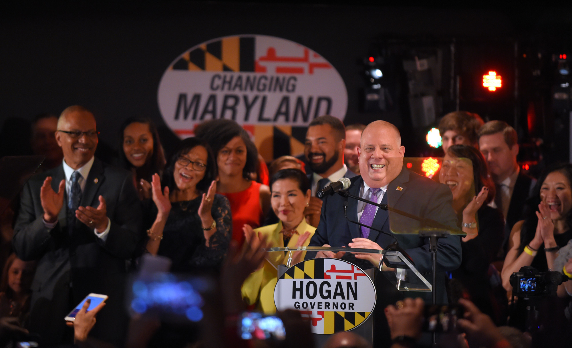 Larry Hogan speaks in front of supporters at his election night victory party