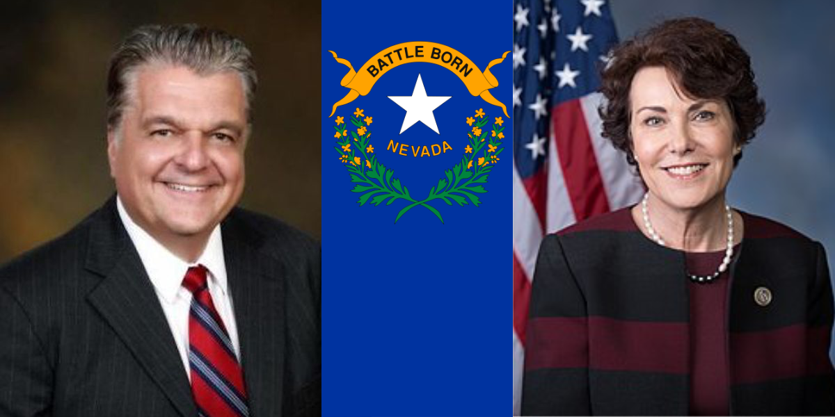 Steve Sisolak and Jacky Rosen pictures. Nevada flag in the middle