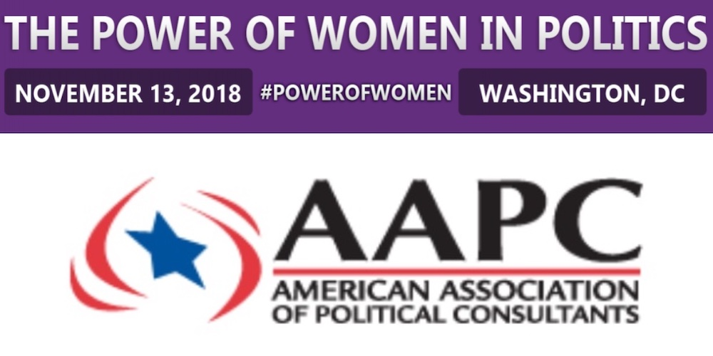 Logo for AAPC on bottom. Text on top: The Power Of Women In Politics November 13 2018 #PowerOfWomen Washington, DC