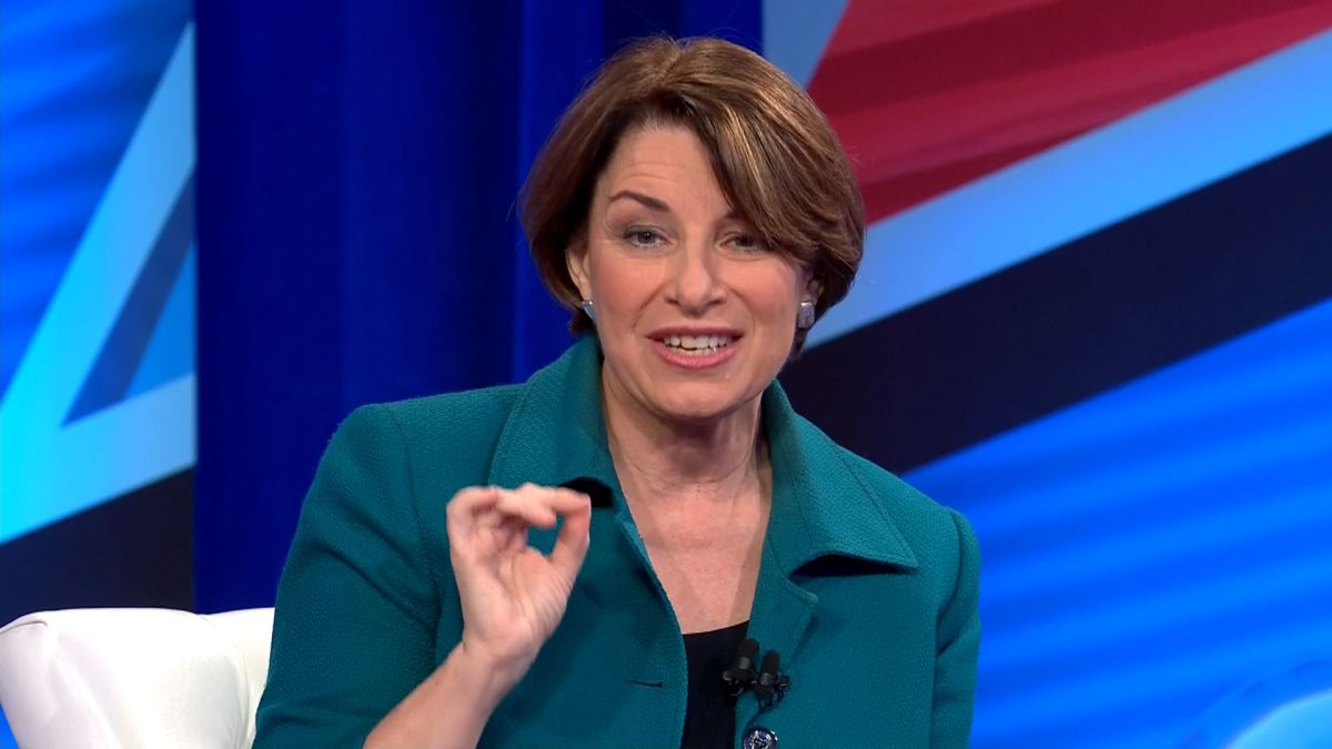 Amy Klobuchar speaking during CNN's Town Hall