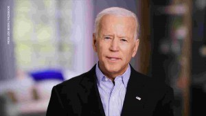 a screenshot of Biden talking in his announcement video