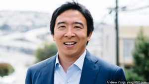 Andrew Yang smiles for the camera