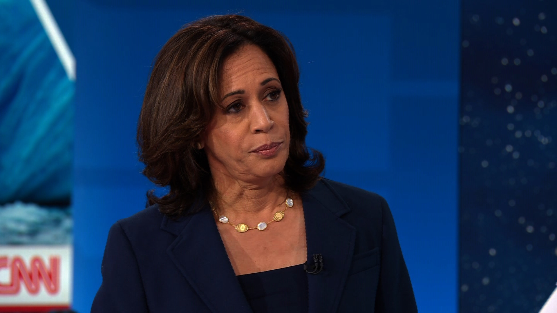 Kamala Harris on stage at the CNN Climate Town Hall