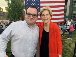 Eric Ascher and Elizabeth Warren at a Warren campaign event in Fairfax, VA