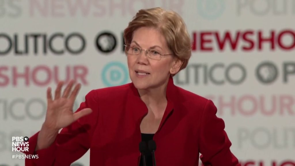 Elizabeth Warren speaking during PBS NewsHour Politico Debate