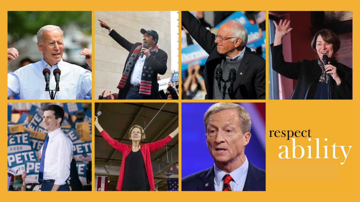 Individual photos of Joe Biden, Andrew Yang, Bernie Sanders, Amy Klobuchar, Pete Buttigieg, Elizabeth Warren and Tom Steyer speaking at rallies or on stages. RespectAbility logo