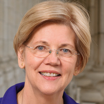 Elizabeth Warren smiling wearing a blue suit