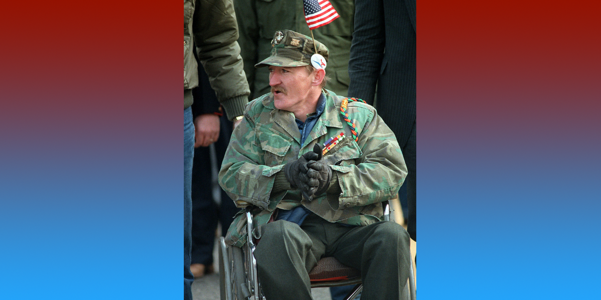 A disabled veteran in a wheelchair participates in the dedication day parade for the Vietnam Veterans Memorial.