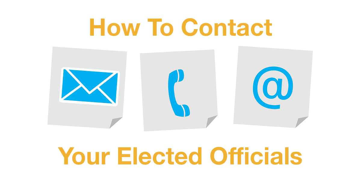 Icons for mail, phone, and email. Text: How to Contact Your Elected Officials