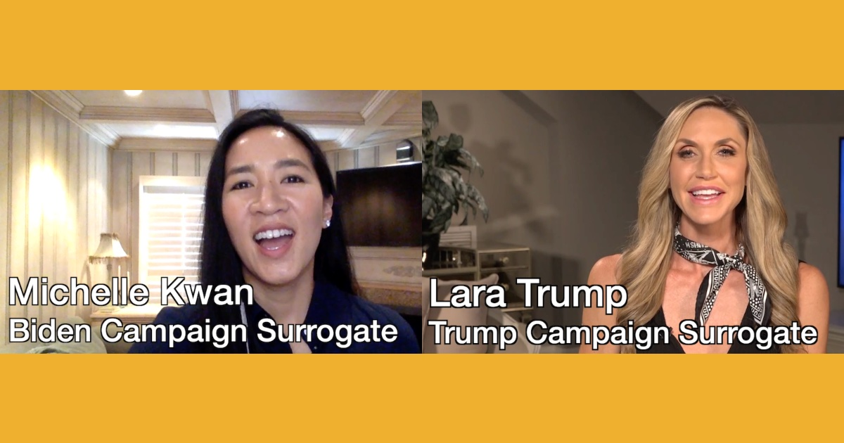 Stills from Michelle Kwan and Lara Trump videos sent to RespectAbility with their names as captions