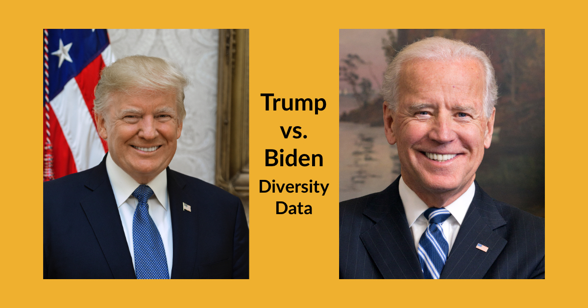 Official portraits of President Trump and Vice President Biden. Text: Trump vs. Biden Diversity Data
